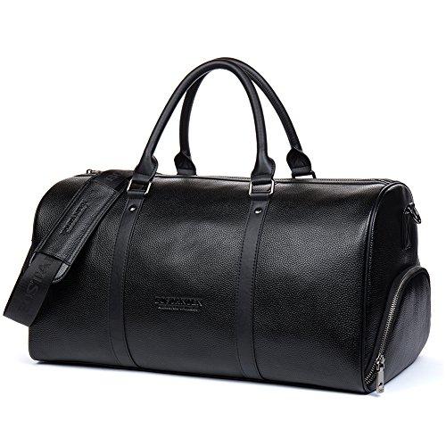 BOSTANTEN Herren echt Ledertasche XL Reisetasche Handgepäck Umhängetasche Wochenende Sporttasche Freizeittasche Groß Schwarz Schwarz