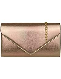 f61984a62f Girly HandBags Faux Suede Clutch Bag Envelope Metallic Frame Plain Design  Evening