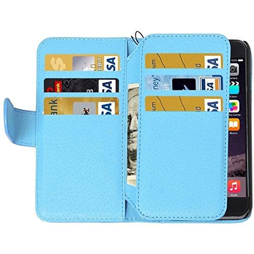 wkae Schutzhülle Case & Cover Wallet Stil Sechs Kartenfächer PU Leder Fall mit Lanyard für iPhone 6& 6S blau