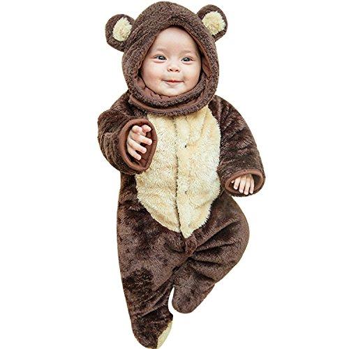CHIC-CHIC Baby Bär Winter Overall Babyschlafsack Schlafanzug Kleinkind Baumwolle Strampler Kapuzejacke Kind Strampelanzug (Strampler Bär)