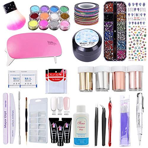 Nail Art Tools Kit de manucure - 1pcs Nail Lamp / 1pcs pinceau cosmétique / 24 Rolls 3D Striping Tape / 1pcs gel de strass / 9pcs Nail Tools / 12pcs couleurs Dipping Power (A1)