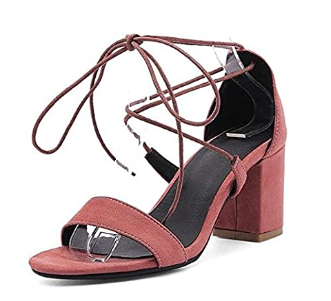 Beaqueen Suede Anke Straps Ties Pompes Open-Toe Chunky Mid Heel Summer Wedding Party Vintage Sandales personnalisés Europe Taille 34-43 , red bean paste , 34
