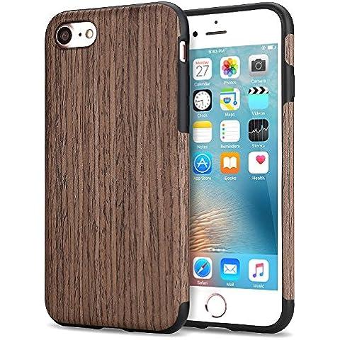 Funda iPhone 7, Tendlin Carcasa Madera Natural de Flexible TPU Silicona Híbrida Funda para iPhone 7 (Negro del Palo de