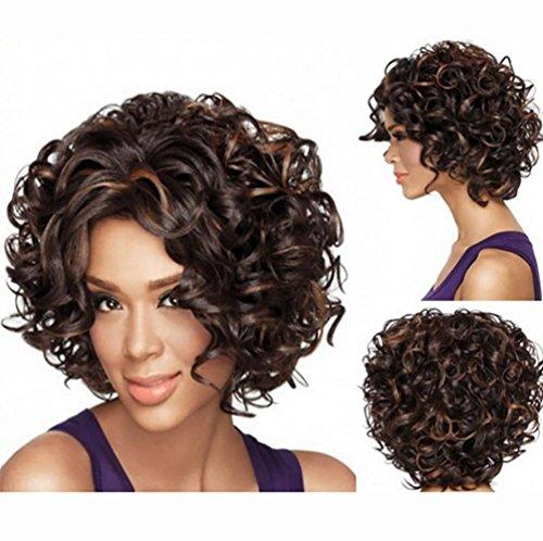 n PerüCken EuropäIsche Und Amerikanische PerüCken Kurze Locken Rose Mesh Flauschige Kopfbedeckung JMQ , Dark brown ()