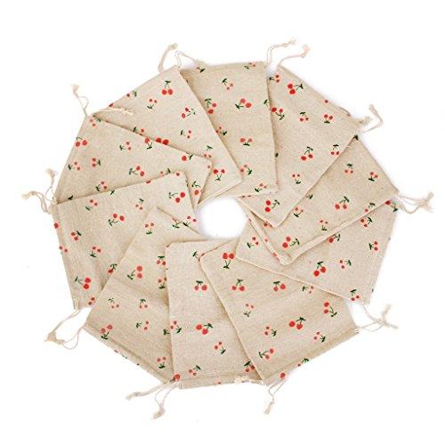 10x Leinen Jute Sack Schmuck Beutel Geschenk Taschen Tunnelzug floral Muster (Floral Jute)
