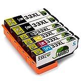 JARBO Kompatibel Epson 33XL Druckerpatronen mit Chip Hohe Kapazität Kompatibel mit Epson XP-530 XP-540 XP-630 XP-635 XP-640 XP-645 XP-830 XP-900 (2 Schwarz,1 Foto Schwarz,1 Cyan,1 Magenta,1 Gelb)