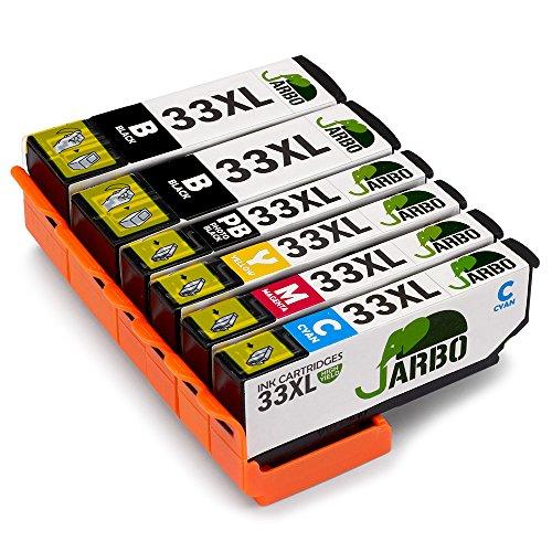 Kompatibel Cyan-box (JARBO Kompatibel Epson 33XL Druckerpatronen mit Chip Hohe Kapazität Kompatibel mit Epson XP-530 XP-540 XP-630 XP-635 XP-640 XP-645 XP-830 XP-900 (2 Schwarz,1 Foto Schwarz,1 Cyan,1 Magenta,1 Gelb))