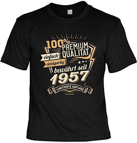 Cooles Geburtstagsgeschenk Leiberl für Männer T-Shirt Set mit Mini T-Shirt 100% Premium Qualität seit 1957 limitierte Auflage Leibal zum Geburtstag Schwarz