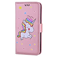 Galaxy S7 Edge Case [with Free Tempered Glass Screen Protector],Mo-Beauty® Colorful Unicorn Pattern Design Magnetic Flip Folio Premium PU Leather Wallet Case With [Credit Card Holder Slots] Cover For Samsung Galaxy S7 Edge (Rose gold)