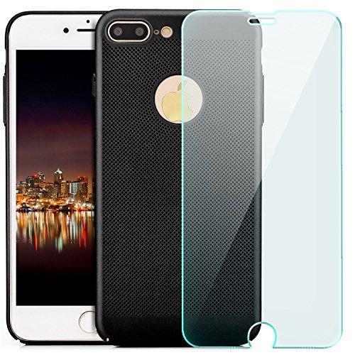iPhone 7 Plus Hülle + Panzerglas, Premium Schutzhülle Hard Case Ultra Slim Cover Handyhülle | Schwarz Schwarz
