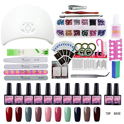 Kit Vernis Semi Permanent Kit Débutant Saint-Acior Lampe UV/LED 36W Gel Polish Soak Off...
