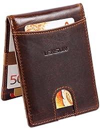 Portafoglio Uomo in Vera Pelle, Lensun Porta Carte di Credito Portamonete RFID Blocco Portafogli Wallet con Confezione Regalo
