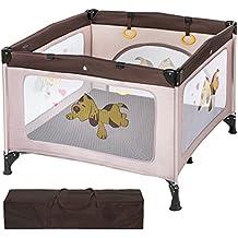 TecTake Parque para bebé cuna infantil de viaje portátil altura ajustable marrón café
