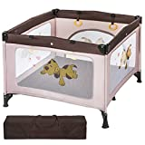TecTake Baby Laufstall Babybett Kinder Reisebett | inkl. Schlafunterlage + Transporttasche | braun coffee