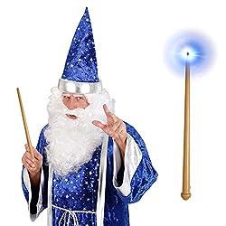 NET TOYS Zauberstab Magischer Stab mit Licht und Sound 36 cm Märchen Feenstab Halloween Magierstab Cosplay Lichtstab Zauberer Leuchtstab