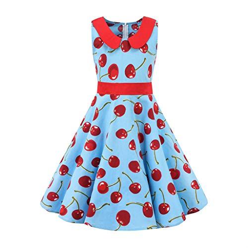 henke 10 Jahre Kinder Teen Kinder Mädchen Vintage 1950er Jahre Retro ärmellose Blumendruck lässige Kleidung(Hellblau-2,Small) ()