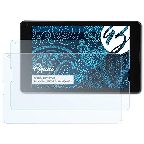 Bruni Schutzfolie für Medion LIFETAB P8514 MD60176 Folie, glasklare Bildschirmschutzfolie (2X)