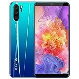 Smartphones P33 plus de 5.8 pulgadas con teléfono inteligente ultrafino de 4 + 32GB con bloqueo de rostro/huella digital Celular Tarjetas SIM dobles Soporte de teléfono Tarjeta T,Azul,AUplug