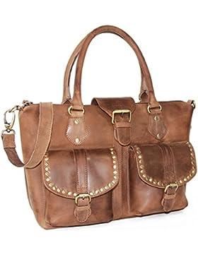ALMADIH Leder Damentasche M7 aus Premium Rindsleder - Elegante Handtasche Henkeltasche Modische Ledertasche Shopper...