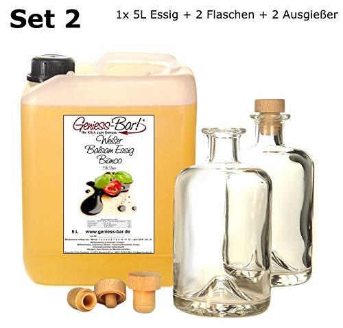 Weißer Balsamessig Bianco 5L mit 2 Flaschen und Ausgießern Sehr mild u. konzentriert