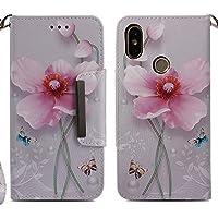 Handyhülle Xiaomi Mi A2,HUDDU Blumen Schmetterling Muster Pink Schutzhülle Xiaomi Mi A2 / Mi 6X Hülle Flip Leder... preisvergleich bei billige-tabletten.eu