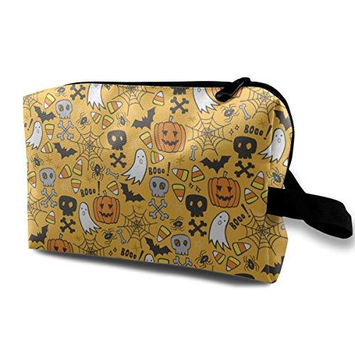 Halloween Doodle with Skulls Bat Pumpkin Spiderweb Ghost On Yellow Orange Travel Makeup Cute Cosmetic Case Organizer Portable Storage Bag for Women