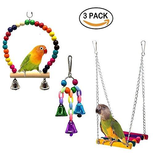 Xmssit parrot cage toy, bird swing toys bell con perline in legno colorato, bird perch in legno amaca appesa per budgie lovebirds conures piccole gabbie parrocchetto decorativo accessori 3pezzi
