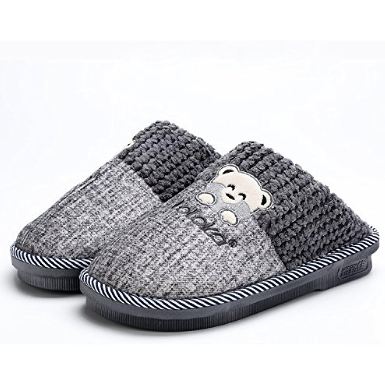 LaxBa  Glisser sur l'hiver au Chaussons chaud en Fausse Fourrure Chaussons au Chaussures pour hommes neige bordée d42-43 gris... - B077W7F46J - 4b47e1