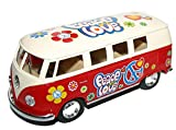 Boys Boy Child Children - Toy Car Enthusiast, Red Flower Power VW T1 Bus 1963 Model Car Vehicle with Pull Back - Great Idea for Christmas Xmas Top Up, Stocking Filler Gift Games & Toys Age 5+ - One Supplied
