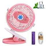 Rechargeable Battery Clip Fan Portable USB Personal Desk Table Fan Cooling Air Mini Tabletop Electric Ceiling Fan Rotatable 360 Degree For Indoor/Outdoor Baby Stroller, Office,Room,Bed,Home,Car (Pink)