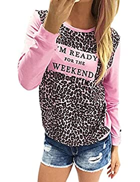 Tongshi Moda Mujer Leopardo de impresión de manga larga Casual camiseta floja remata la blusa