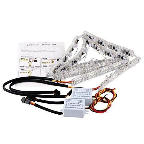 Preisvergleich Produktbild Auto LED DRL Licht Tagfahrlicht DRL TFL Tageslicht Lampe 2 DRL Fließende Turn Blinker Leuchte Strip, 12-24 V 50 cm-69 cm