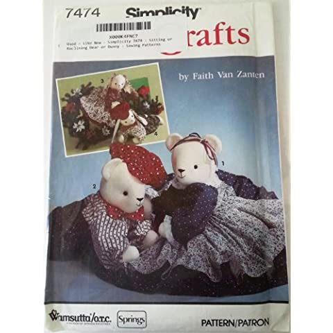 Simplicity 7474 : Sitting or Reclining Bear or Bunny - Sewing Patterns by Simplicity Crafts