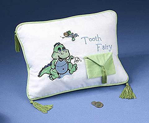 Dinosaur Dragon Tooth Fairy Embroidered Pillow with