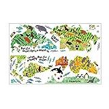 Lovelysunshiny Tierweltkarte Wandaufkleber 90 * 60CM Wasserdichte entfernbare Hauptdekoration