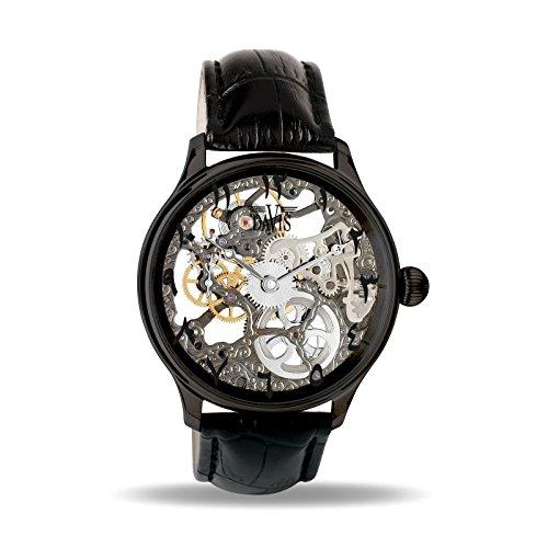 Davis Reloj Esqueleto para Unisex Adultos de Mecánico con Correa en Cuero 0899 East