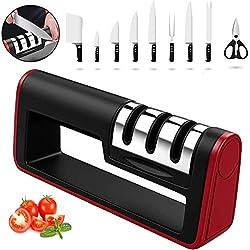 QYLT 3-en-1 Aiguiseur de Cuisine Professionnel avec Base Antidérapante, pour Couteaux en Acier Inoxydable et céramique de Toutes Tailles