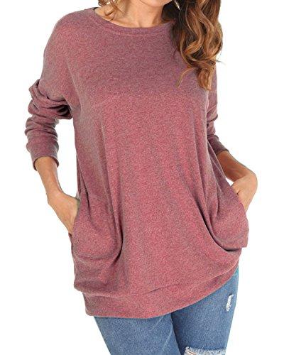 Langarm Sweatshirt Damen Rundhals Pullover Casual Loose Oberteile,einfarbig,Baumwolle,mit Taschen,rot,XL (Hände-t-shirt Max)