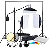 Kit complet d'éclairage professionnel Photo studio avec 3 Softbox 50x70, Fond, Réflecteur, sac de transport & accessoires