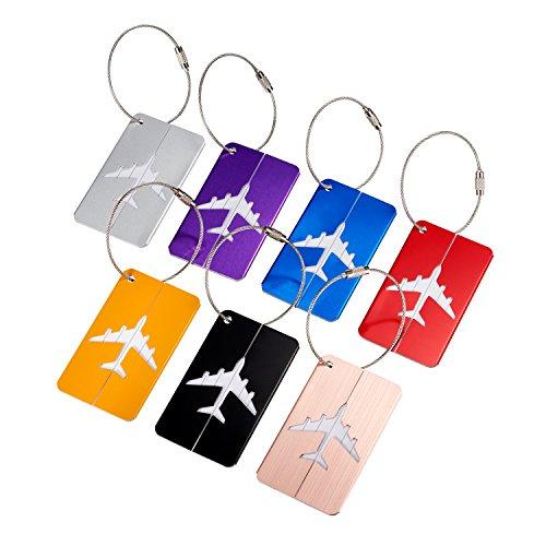 SHAIK® 7 teiliges Kofferanhänger Set mit Namensschild Gepäckanhänger aus Aluminium - in 7 Farben (Kofferanhänger Flugzeug)