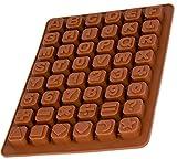 Silikon–Form mit Buchstaben und Zahlen, Pralinenform, Schokoladenform, Giessform, Silicone Mold, Kindergeburtstag, Alphabet, Abschiedsfeier, Kuchenverzierung, Lesen, Schreiben,Farbe: Braun, BlueFox