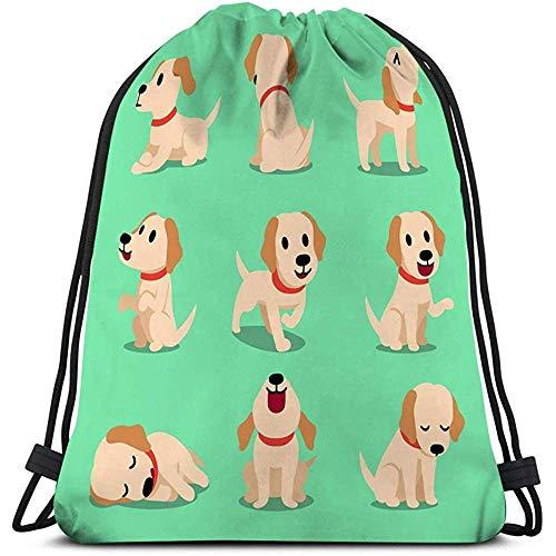 BOUIA Mann-Frauen-Turnhallen-klassischer Sport Drawstring-Taschen-Zeichentrickfilm-Figur Labrador-Hund wirft Zeichentrickfilm-Figur Labrador-Hund wirft auf