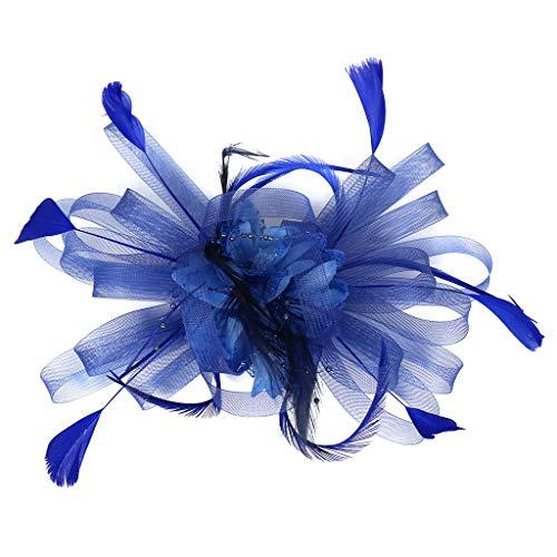 iYmitz Haarschmuck Haarreif eleganter Fascinator mit Federn Blumen Kopfbedeckung Braut (Chinesisch Inspirierte Kostüm)