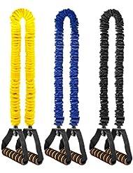 [Bandes de Résistance] VANWALK 3 Pack Bande Elastique Fitness/Bande de Resistance Set 6.8-20kg avec Poignées Souples et Sac de Transport pour Musculation Yoga/Pilates/Rééducation