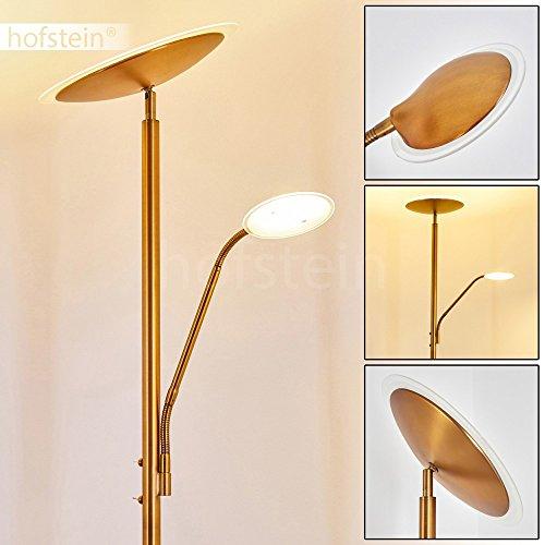 Lampadaire LED Matsi en métal de couleur bronze - Lampe sur pied avec spot et liseuse - Luminaire pour salon - séjour - chambre à coucher
