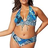 Luckycat Mujer Bikini Una Piezas Sexy Tirante Floral Print Vintage Retro Push Up Talle Alto Conjuto de Baño Playa