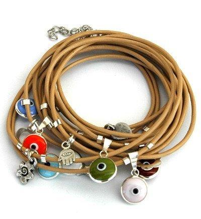 Mizze Made For Luck Jewelry cammello in pelle Wrap braccialetto con occhio greco, argento sterling ciondoli per protezione