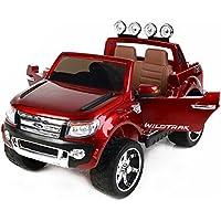 FORD RANGER Wildtrak de lujo, Rojo Lacado, producto BAJO LICENCIA, con mando a distancia 2.4Ghz Bluetooth, apertura de puertas y capó, os asientos en cuero, Ruedas EVA Suave