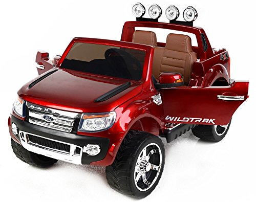 Ford Ranger Wildtrak -di lusso, Macchina Elettrica per Bambini, Toy Car, 2 motori, a due posti in pelle, Ruote EVA morbide, Rosso Dipinto, 2,4 GHz Bluetooth, USB, SD card, licenza originale Ford