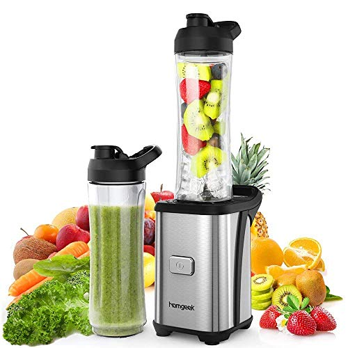 Mixer Smoothie Maker, homgeek Mini Blender mit 2x 600ml Tritan-Kunststoff Flaschen, Tragbar Standmixer für Shake, Smoothie, Eis, Getränk von Obst und Gemüse, 350 Watt, 23000 U/Min, BPA frei, Silber